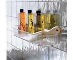 InterDesign - Organizador para cubículo de ducha, provisto de ventosas; para champú, acondicionador, jabón - Claro