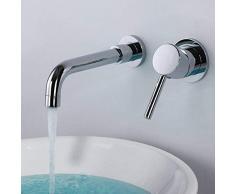 JRUIA Chrome 2 hoyos montados en la pared Grifos de lavabo Grifo mezclador monomando para lavabo Giratorio de 360 grados Grifo de baño 192 mm caño