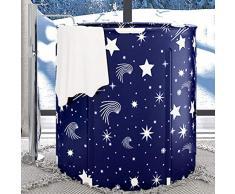 Sauna Sala De Vapor Plegable Portátil Máquina De Vapor Fumigación Cuerpo Sudor Adelgazante 120L-150L, 70 * 65CM, Color: Azul, con Control Remoto