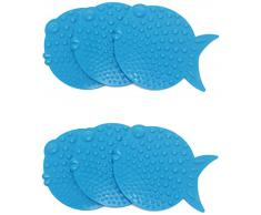Outlook Design Mini Fish Set de 6 Alfombrillas Antideslizantes para baño y Ducha, Azul
