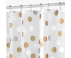 InterDesign - Gilly Dot - Cortina para ducha - 183 x 183 cm - Metálico