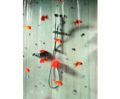 Spirella Goldfish - Cortina para ducha (100% PVC, transparente, 180 x 200 cm), diseño de peces