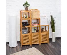 Relaxdays – Baño Estantería de bambú con 5 estantes hxbxt 140 x 36,5 x 33 cm Práctico armario estantería con varios niveles y madera notebook con cierre magnético con espacio para baño y Salón, natural