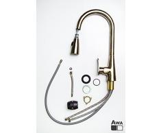 AWA - Sherlock - Grifería para fregadero - Grifo - Mezclador para cocina con con ducha extraible - Latón viejo.