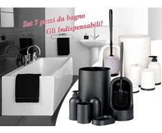 Conjunto 7 piezas de accesorios de baño (incluye Papelera , Soporte cepillos de dientes, Escobilla con soporte , Dispensador jabón líquido , Jabonera , Soporte multiusos) mws1319/NEG (NEGRO)