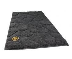 Gözze 1032-13-060100 - Alfombra para baño, diseño de piedras, Microfibra de poliéster, gris, 60 x 100 cm