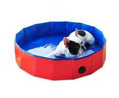 Decdeal Piscina Plegable para Perros Gatos Bañera Baño Portátil para Mascotas Pequeños Medianos y Grandes para Limpiar Jugar al Aire Libre