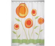 InterDesign Marigold Cortina de baño de diseño | Cortina de ducha con ojales | 180 x 200 cm | Cortinas modernas con estampado de flores para ducha o bañera | Poliéster rojo/naranja