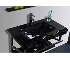 Mueble baño cristal completo de lavabo espejo L80