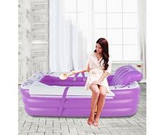 La bañera inflable extendida desmontable, la sauna grande del baño del respaldo espesa la piscina de plegamiento doble caliente, la púrpura elegante 155 * 70 * 45cm