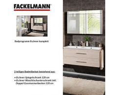 Fackelmann de muebles de baño Set B. Clever de 2 piezas, fresno 120 cm con lavabo armario con doble de fundido (mármol & LED Armario con espejo