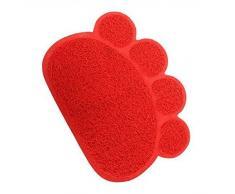 Alfombrilla de la caja de la basura del gato,SUAVER PVC paw-shaped Antideslizante Estera para Mascota, Alfombrilla para Comederos Perros y Gatos,30x40cm (Rojo)