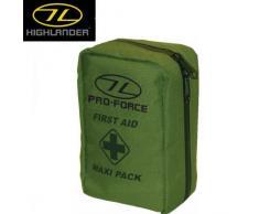 Highlander - Kit de primeros auxilios / Militar Botiquín de primeros auxilios - MAXI / Grande - En la práctica bolsa de nylon en Negro Oliva