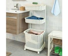Top Home Solutions Carrito de lavandería con 3 cestas, ruedas, multiusos, cestas de baño, estante