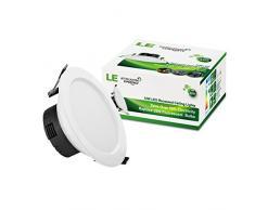 LE Downlight LED 12W - Foco empotrable LED, blanco cálido 3000K, equivalencia fluorescente 25W, 750lm, ⌀110mm, adaptador integrado, pack de 4 luces de techo