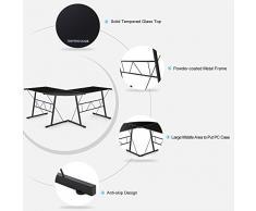 IKAYAA - Mesa de Esquina para Ordenador de Uso en Oficina Trabajo en Casa (Forma de L,Max.100kg,De Vidrio Templado,Color Negro)