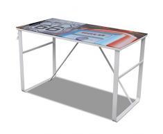 UnfadeMemory Mesa de Escritorio Moderno con Superficie de Vidrio Templado,Mesa de Oficina,Mesa de Ordenador,Decoración de Estudio Dormitorio o Oficina,120x60x75cm (Diseño Único Imprimido)