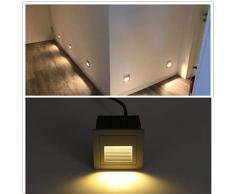 8pcs LED Escaleras Aluminio 230 V 3 W Cristal apliques luz escaleras con cajetín Escaleras Luz Lámpara de pared IP65 (Grau Rahmen-warmes Weiß, 8pcs)