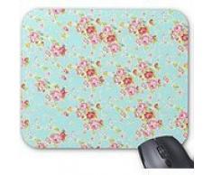 Vintage Chic Floral rosas azul rosa Shabby Flores alfombrilla de ratón - elegante, Durable oficina accesorios y regalo