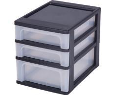 Escritorio de cajones, cajones sin ruedas cajones de plástico con 3 cajones, contenedores Negro Dresser 3 cajones, Armedietto sin ruedas, armario de plástico, almacenamiento cajón - OCH-2021