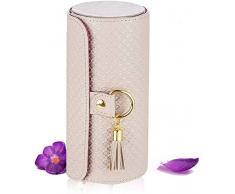Caja de joyería La joyería retro armario de tres capas mini bolso de joyas caja de almacenamiento enrollable flocado del medio ambiente de almacenamiento cubierta protectora cilíndrica (gris) gran caj