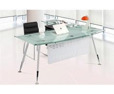 Set mesa de oficina mueble ala a izquierda cristal blanco 180x85 cm