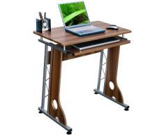 hjh OFFICE 673961 Escritorio SMART nogal plateado mesa pequeña con bandeja para teclado