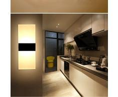 XIARU- 6W LED Lámpara de pared Interior,Moderna Apliques de Pared,Moda Agradable Luz de Ambiente,perfecto para Lámpara de Decoración para, AC85-265V, 29×11×3.5cm,Blanco Cálido,Negro(pieza Del Centro)