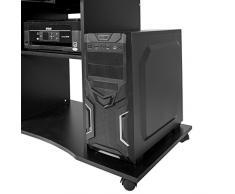 Harima - Mesa Esquinera para Ordenador Mueble Torre Escritorio Oficina Mackinac Profesional en color Negro con estante extraíble para el teclado Inicio PC de escritorio