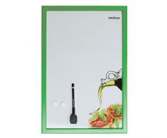 Excelsa - Pizarra magnética (metal), diseño de bruschetta, color blanco y verde