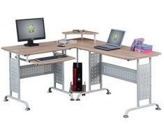 SixBros. Mesa de ordenador Roble/Blanco Efecto madera CT-3807/1839