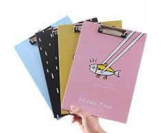 Zhi Jin Funny A4 tamaño folio carpeta de archivo escritura Portapapeles duro Clip Junta Pad conferencia compacto soporte de documentos de oficina, color Pomegranate