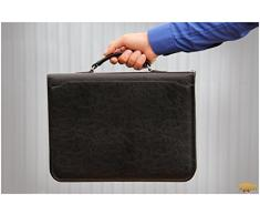 Noda - Carpeta organizadora de tamaño A4 de piel sintética con asa, archivador y portapapeles, para negocios, presentaciones, reuniones o conferencias, color negro