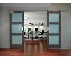WBD-FSS # Acero inoxidable cepillado níquel satinado Sus304 MiniSun granero madera puerta corredera Hardware pista para trastero, lavandería, baño principal, Walk-in armario, oficina, persianas, alta movilidad áreas
