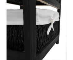 Premier Housewares - Cajonera de madera con 3 cestos de mimbre (63 x 40 x 32 cm), color negro