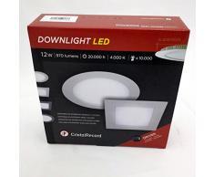 CristalRecord 02-007-12-400 - Foco downlight, LED extraplano, redondo, 12 W, luz neutra, 4000° K, color blanco