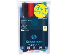 Schneider - Marcador para pizarra y rotafolio (4 unidades), colores surtidos