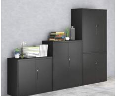 MECOLOR Armario de oficina de metal de media altura, con puertas y estantes ajustables en color blanco, metal, negro, 760 mm