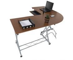 Harima - Mesa Esquinera para Ordenador Mueble Torre Escritorio Oficina Bixby Profesional en color Nogal con estante extraíble para el teclado Inicio PC de escritorio