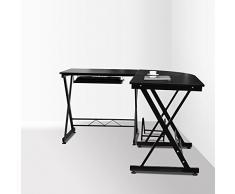 HOMFA Mesa ordenador Movable Gran mesa de esquina Moderna Escritorio para oficina con Teclado de escritorio con estante 150*138*75cm Negro