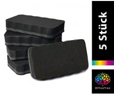 OfficeTree Set de 5 borradores de pizarra blanca - negros - magnéticos - limpios, secos y eficaces - Elimine de forma segura apuntes y dibujos de pizarra blanca, rotafolio y pizarra magnética