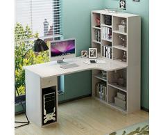 Esquina Tabla De La Computadora,en Forma De L Desk con Estantes,Multiusos Mesa De Oficina Estudio Lectura Escritorio De Juegos De Azar con Mainframe Shelf-c 160x60x140cm(63x24x55inch)