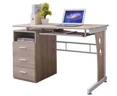 SixBros. Mesa de ordenador Roble/Blanco plateado - S-352/2074 - MDF color roble - Estructura Metal Blanco plateado