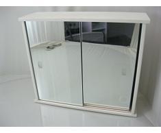 Generic Producto nuevo de madera color blanco 2 puerta corredera armario de baño con medio estante < 1 & 2933 * 1 >