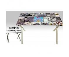 NUEVO HOGAR - Mesa escritorio nuevo hogar metal cromado sobre de cristal 120 x 70 x 75 cm. cristal 8mm. - 83913