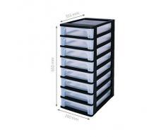 Sin cajones ruedas de plástico, cajones con 8 cajones, contenedores Negro, 8 Dresser Cajones, Armedietto Sin ruedas, plástico Armario, cajones de almacenamiento - Och-2080