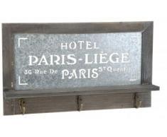 Colgador de llaves de madera diseño de París - perchero con 3 ganchos - con balda - estante