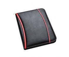 Carpeta profesional Arpan de tamaño A4 con cubierta suave y acolchada, calculadora y bloc de notas, ideal para uso personal, ejecutivo, de oficina, empresarial, conferencias de negocios (color negro)