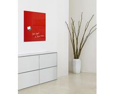 SIGEL GL114 Pizarra de cristal magnética Artverum, rojo, 48x48 cm