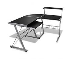 Anself - Mesa De Esquina Para Ordenador Con Bandeja De Teclado Extraíble,L-Forma,Color Negro